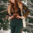 Beautiful girl in winter on Christmas. Fashion and beauty. Style of designer clothes. Warm fur and Russian traditions in the evening on the farm. — Stock Photo