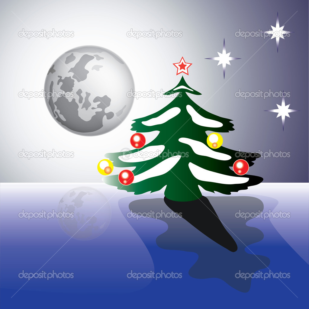 New moon &amp; reflection of the Elder Moon, in anticipation Christmas  Stockvectorbeeld #16695165