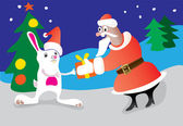 Santa Claus and a hare — Stockvector
