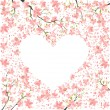 Vector de stock : Romantic frame from cherry blossom