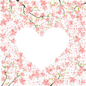 Romantic frame from cherry blossom — Stock Vector