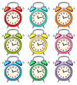 Set of ringing alarm clock — Stock Vector