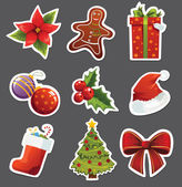 Christmas set of stickers — Stock Vector