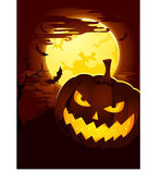 Creepy Halloween Background with Pumpkin — Stock Vector