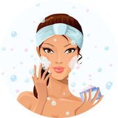 Beautiful girl during beauty ritual — Stock Vector