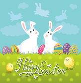 Cute Easter Postcard with bunnies — Stock Vector