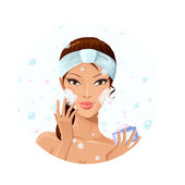 Beautiful woman washing her face — Stock Vector