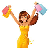 Happy shopping girl — Wektor stockowy