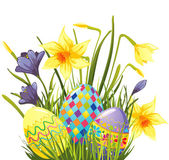 Easter eggs in flowers — Stock Vector