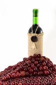 Grapes around wine bottle — Stock Photo