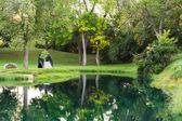 Garden footbridge — Stock Photo