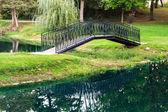 Garden footbridge reflected in the water — Stock Photo