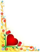 Hjärta med blommiga utsmyckade — Stockfoto