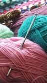 Crochet hook and yarn — Stock Photo