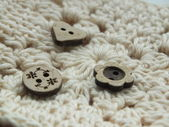 Natural , vintage wooden buttons and crochet — Stock Photo