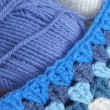 Stock Photo: Blue wool and crochet