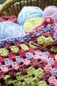 Basket of crochet — Stock Photo