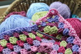Basket of crochet — Stock Photo