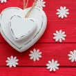 Stockfoto: White Hearts on Red