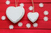 White Hearts on Red — Stock Photo