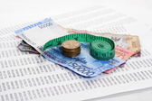 Rupiah with measure tape — Stock Photo