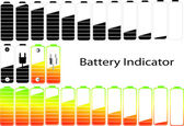Vector symbols of battery level indicator — Stock Vector