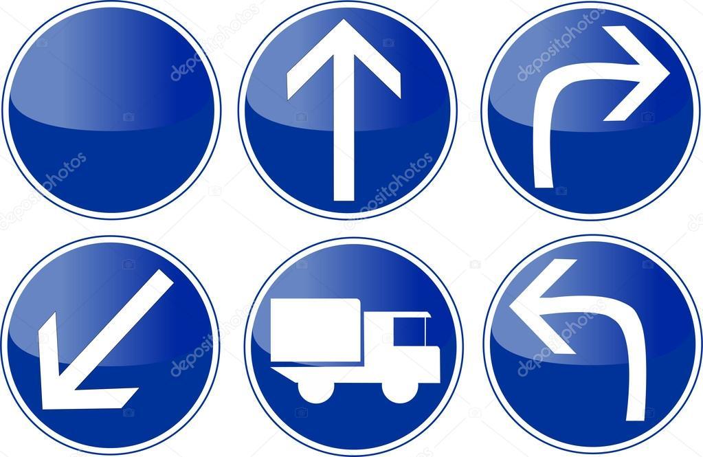 jeu de panneau de signalisation cercle bleu image vectorielle 27526493. Black Bedroom Furniture Sets. Home Design Ideas