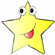 Yellow funny star on white background — Stock Photo