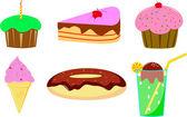 Cake, donut and ice cream — Stock Vector