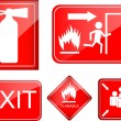 Set of fire accident sign — Stock Vector