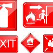 Stock Vector: Set of fire accident sign