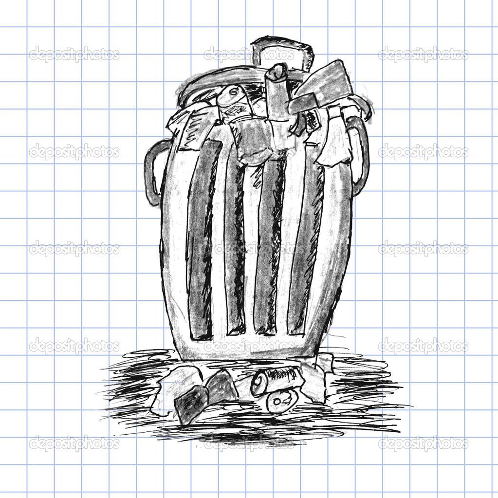 手绘草图,装满垃圾的垃圾桶