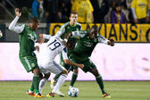 MLS game between the Portland Timbers and the Los Angeles Galaxy — Stock Photo
