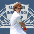 Lukas Lacko and Ernests Gulbis play a match — Stock Photo