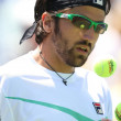 Janko Tipsarevic of Serbia (pictured) and Sam Querrey of USA play a match at the 2010 Farmers Classic — Stock Photo #14372543