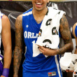 Chris Brown plays in the E League Celebrities Bridge Basketball and Charity event sponsored by Nike - Stock Photo