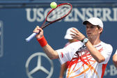 Bob Bryan of USA & Mike Bryan of USA (pictured) play the doubles final against Eric Butorac of USA & Jean-Julien Rojer of Holland — Stock Photo