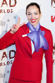 V Australia flight attendant arrives at the Nomad Two Worlds Los Angeles gala at 59 Pier Studios West — Stock Photo
