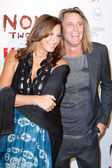 Donna Karan (L) and Russell James (R) arrive at the Nomad Two Worlds Los Angeles gala at 59 Pier Studios West — Stock Photo