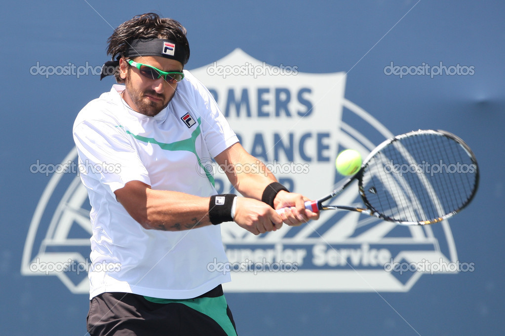 LOS ANGELES, CA. - JULY 31: Janko Tipsarevic of Serbia (pictured) and Sam Querrey of USA play a match at the 2010 Farmers Classic on July 31 2010 in Los Angeles. — Stock Photo #14372575