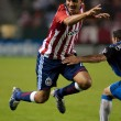 Jesus Padilia getting tripped up during the Chivas USA vs. San Jose Earthquakes match - Stock Photo