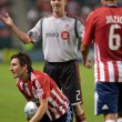 Sam Cronin, Sacha Kljestan and Ante Jazic during a stop in play of the match — Stok fotoğraf