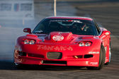 Tanaka Racing driver Alex Pfeiffer competes at Toyota Speedway during Formula Drift round — Stockfoto
