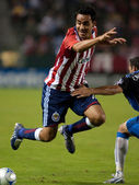 Jesus Padilia getting tripped up during the Chivas USA vs. San Jose Earthquakes match — Stock Photo