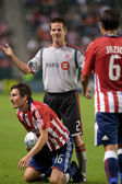 Sam Cronin, Sacha Kljestan and Ante Jazic during a stop in play of the match — Stock Photo