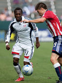 Jorge Flores and Sainey Nyassi during the match — Stock Photo