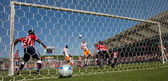 Header by Andrew Hainault resulting in a Dynamo goal during the match — Stock Photo