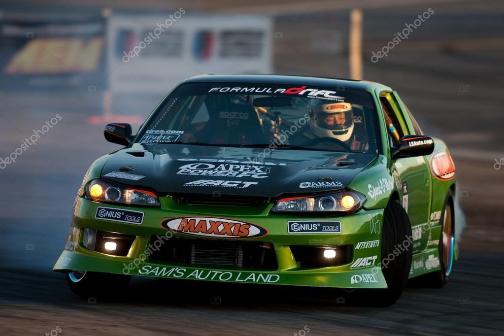IRWINDALE, CA. - OCTOBER 16: Joon Woo Maeng competes at Toyota Speedway during Formula Drift round 7 on October 16th 2009 at the Toyota Speedway in Irwindale.  Stock Photo #14585533