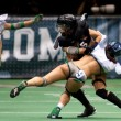 Michelle Jacot being tackled by Maggie Pearson during the match - Stock Photo