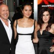 Emma Heming, Bruce Willis and Rumer Willis arrive at the Los Angeles special screening film premiere — Stock Photo